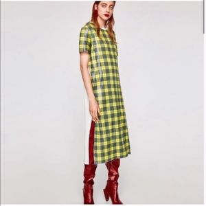 NWOT Zara Sequin Plaid Short Sleeve Midi Dress